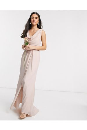 ASOS Bridesmaid cowl front maxi dress with button back detail-Pink