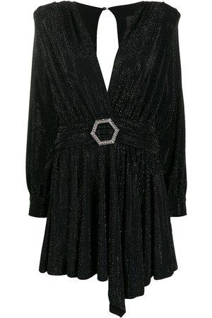 Philipp Plein Belted long-sleeve mini dress