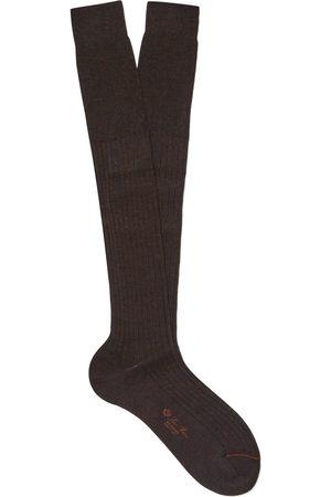 Loro Piana Homem Meias - Ribbed Cashmere And Silk-blend Over-the-calf Socks