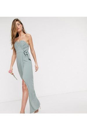 TFNC Bridesmaid exclusive bandeau wrap midaxi dress with pleated detail in sage-Green