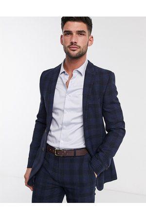 ASOS Homem Casacos - Super skinny suit jacket in birdseye check in navy