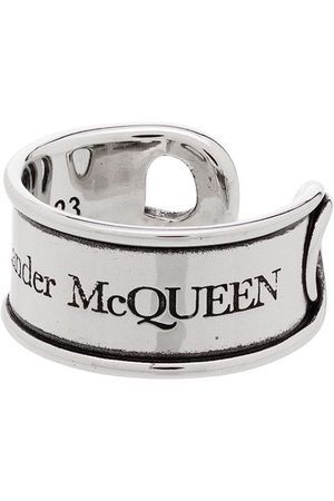 Alexander McQueen Homem Anéis - Engraved safety-pin ring