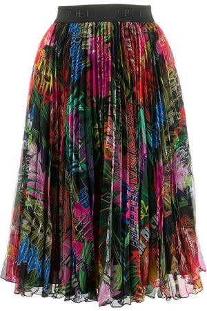 Philipp Plein Senhora Saias Estampadas - Jungle rock print pleated skirt