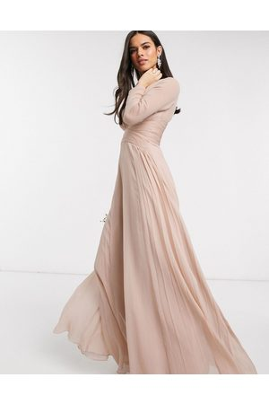 ASOS Senhora Vestidos Compridos - Bridesmaid ruched waist maxi dress with long sleeves and pleat skirt-Multi