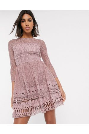 ASOS Premium lace mini skater dress in mink-Pink