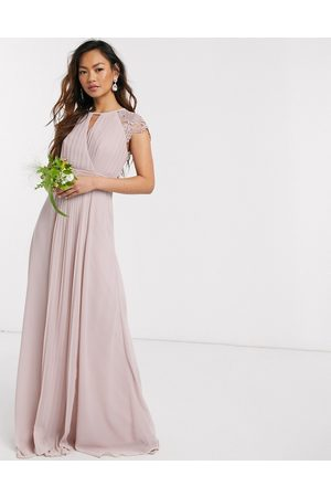 TFNC Bridesmaid lace sleeve maxi dress in pink