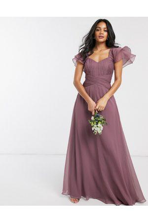 ASOS Bridesmaid short sleeve ruched maxi dress-Purple