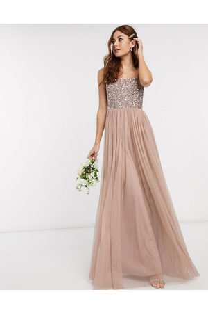 Maya Bridesmaid sleeveless square neck maxi tulle dress with tonal delicate sequin overlay in taupe blush-Brown