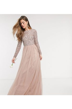 Maya Tall Bridesmaid long sleeve v back maxi tulle dress with tonal delicate sequin in taupe blush-Brown