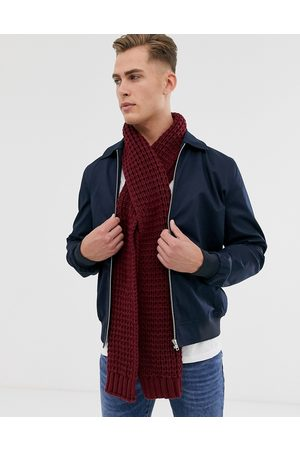 ASOS Knitted scarf in burgundy-Red