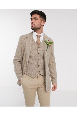 ASOS Wedding Harris Tweed slim blazer with wool herringbone in camel-Beige
