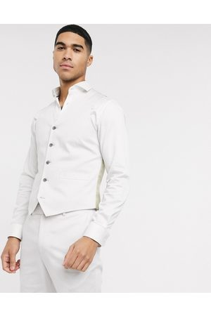 ASOS DESIGN Wedding slim suit waistcoat in light grey stretch cotton