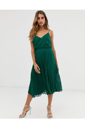 ASOS Pleated cami midi dress with drawstring waist in forest green