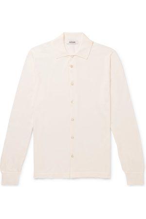 Saman Amel Slim-fit Cotton And Silk-blend Polo Shirt