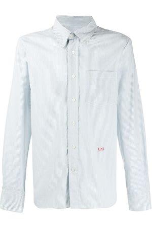 Ami Paris Men Button-Down Boy Fit Shirt A.M.I Front Embroidery
