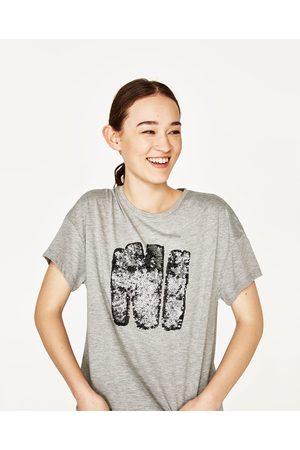 Senhora T-shirts & Manga Curta - Zara T-SHIRT LANTEJOULAS. - Disponível em mais cores
