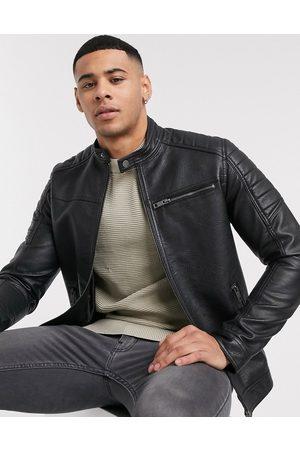Jack & Jones Essentials faux leather racer jacket in black