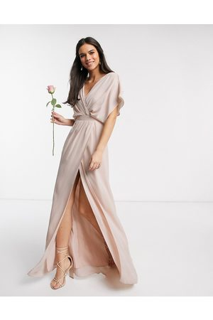 ASOS Bridesmaid short sleeved cowl front maxi dress with button back detail-Pink