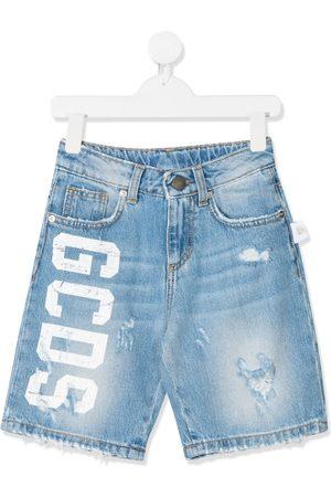 Gcds Kids Logo-print denim shorts