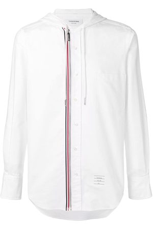 Thom Browne Hooded Zip-Front Oxford Shirt