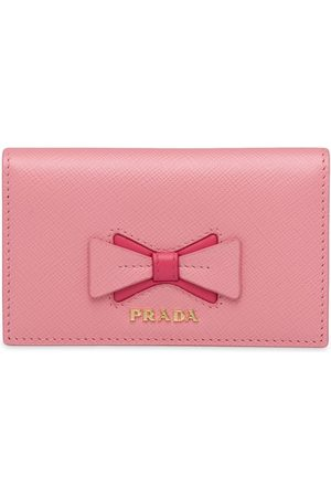 Prada Senhora Bolsas & Carteiras - Saffiano leather card holder with bow