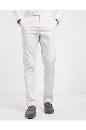 ASOS Wedding slim suit trousers in light grey stretch cotton
