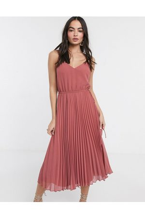 ASOS Pleated cami midi dress with drawstring waist in dark pink