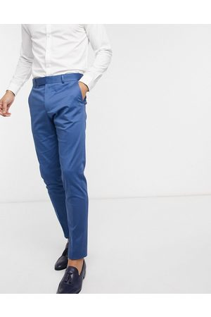 ASOS Wedding skinny suit trousers in blue stretch cotton