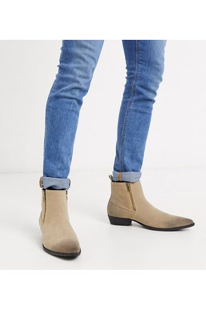 ASOS Wide Fit cuban heel western chelsea boots in stone faux suede with zips