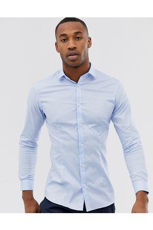 Jack & Jones Premium super slim fit stretch smart shirt in blue