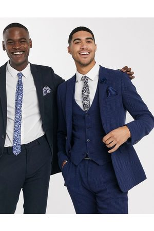ASOS Wedding super skinny suit waistcoat in blue wool blend micro houndstooth