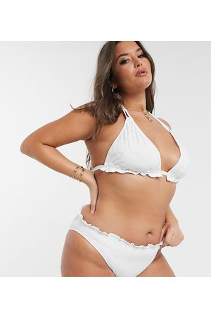 ASOS ASOS DESIGN curve mix and match broderie hipster bikini bottom in white