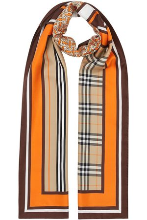 Burberry Monogram Icon stripe and check print silk scarf