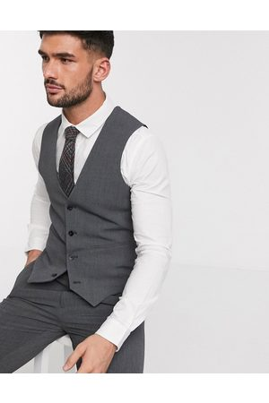 ASOS Super skinny suit waistcoat in four way stretch in charcoal-Grey