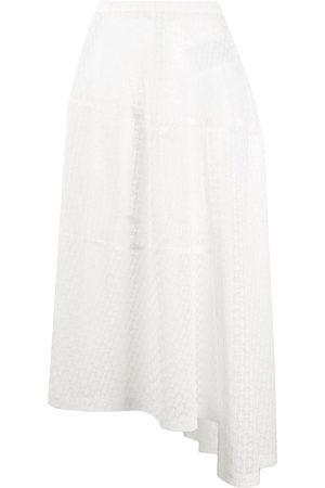 Jil Sander Mulher Mini-saias - Crochet-lace asymmetric midi skirt
