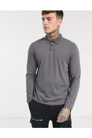 ASOS Organic long sleeve jersey polo in charcoal-Grey