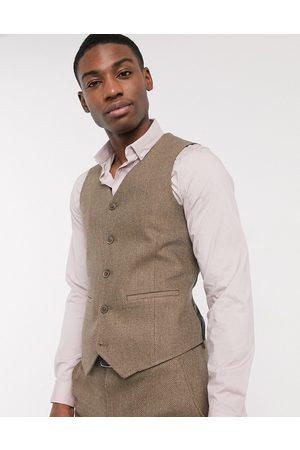 ASOS Wedding skinny wool mix suit waistcoat in camel herringbone-Beige