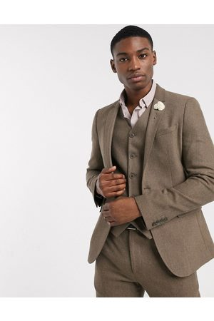 ASOS Wedding skinny wool mix suit jacket in camel herringbone-Beige