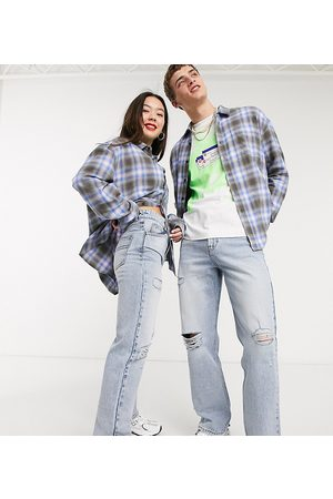 COLLUSION X000 Unisex ripped 90s straight leg jeans in stonewash blue