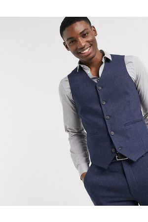 ASOS Homem Fatos - Wedding super skinny wool mix suit waistcoat in navy herringbone