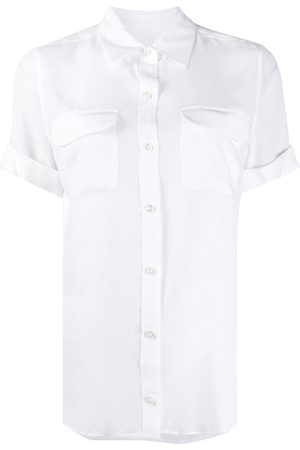 Equipment Short-sleeved slim signature silk shirt