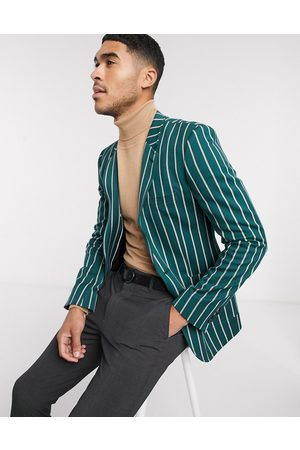 ASOS Super skinny blazer in forest green stripe with gold buttons