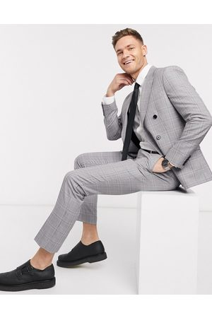 Moss Bros Homem Calças Justas - Moss London eco suit trousers in grey and pink check