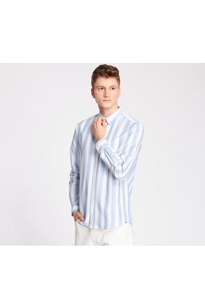 Norse projects Homem Formal - Anton Oxford Shirt Pale Wide Stripe