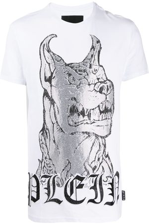 Philipp Plein Crystal embellished dog T-shirt