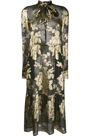 Saint Laurent Floral brocade sheer dress