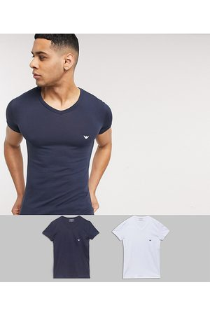 Emporio Armani Homem Conforto - Loungewear 2 pack v neck logo lounge t-shirts in white and navy-Multi