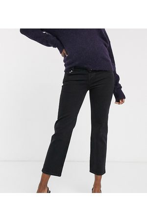 ASOS ASOS DESIGN Maternity High rise stretch 'slim' straight leg jeans in black with over the bump band