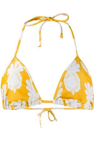 La DoubleJ Pineapple-print bikini top
