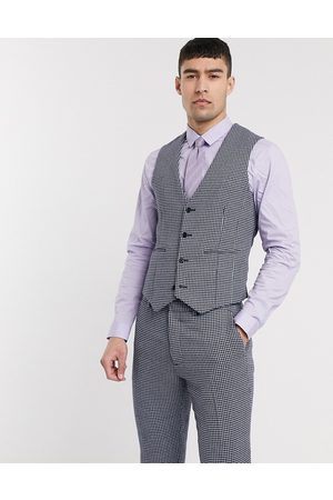 ASOS Wedding skinny suit waistcoat in blue and grey wool blend microcheck